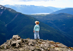 Our granddaughter taking in the view from Vidaset